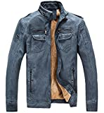 Trensom Men's Vintage Fleece PU Faux Leather Jacket Casual Thick Zip up Winter Moto Coat Blue Small