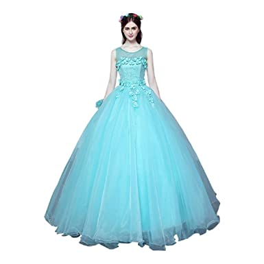 Sky Blue Sleeveless O-Neck Illusion Flower Lace Floor Length Beading ...