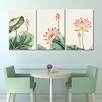 3 Panel Canvas Wall Art - Watercolor Painting Style Pink Lotus Flowers and Leaves - Giclee Print Gallery Wrap Modern Home Art Ready to Hang - 24