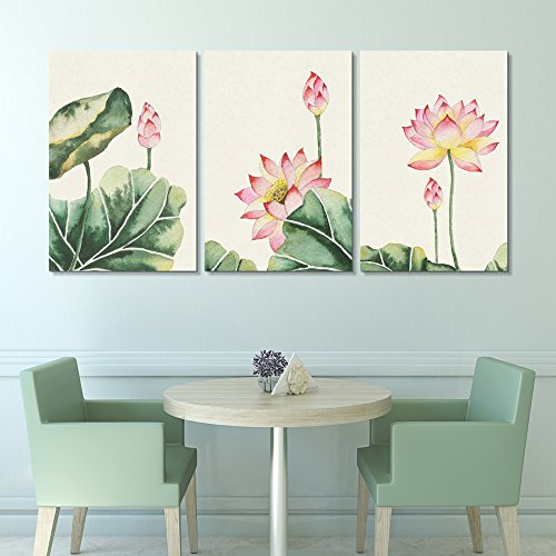 3 Panel Watercolor Painting Style Pink Lotus Flowers and Leaves x 3 Panels