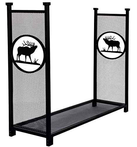 INNO STAGE Firewood Log Rack for Outdoor, Heavy Duty Log Storage Holder Fire Wood Pile Racks for Fireplace Patio with Special Elk Pattern - 4' (Fireplace And Patio Place)