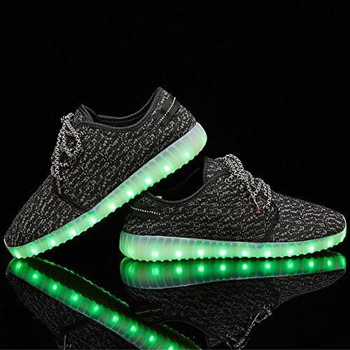 Senni Unisex Glanzende Led Schoenen Oplichten Usb Opladen Knipperende Sneakers Black2