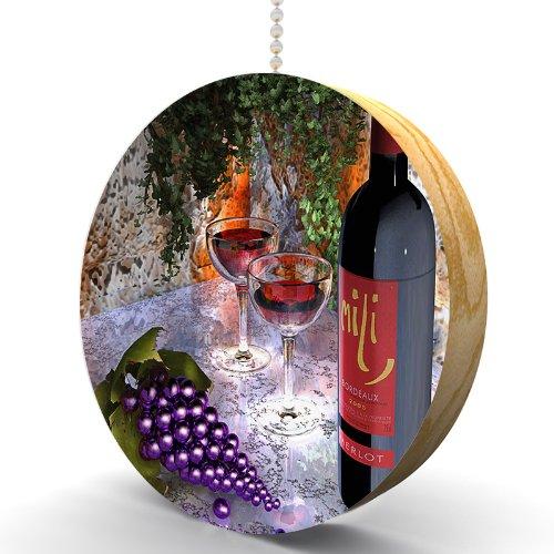 Merlot and Grapes Hardwood Oak Fan / Light Pull ()