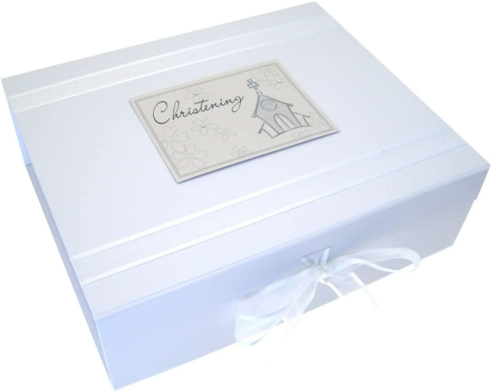 White Cotton Cards Christening A4 Toys Range Keepsake Box Blue
