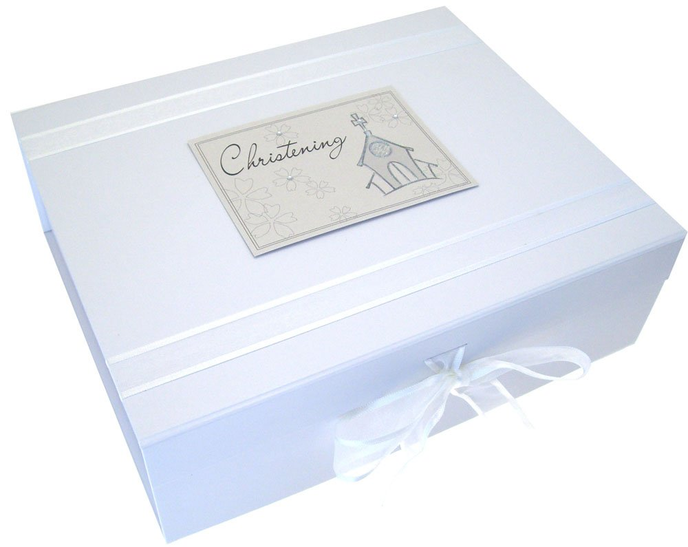 White Cotton Cards Christening Church A4 Keepsake Box