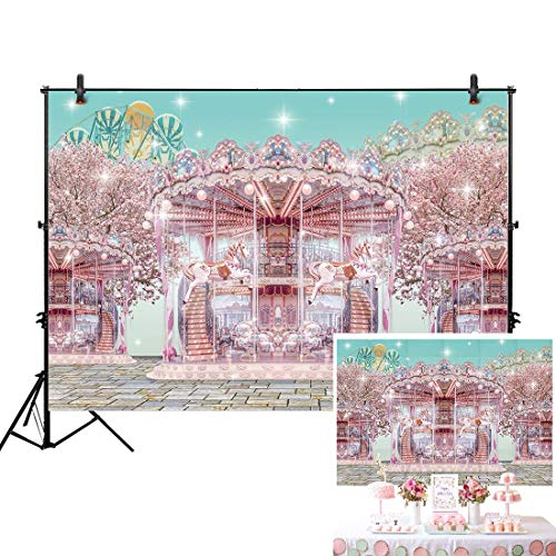 Allenjoy 7x5ft Pink Carnival Backdrop Carousel Ferris Wheel Circus Brick Floor Pink Glitter for Girl First 1st Birthday Party Photography Event Table Decor Banner Background Baby Shower Photo Booth