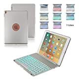 Boriyuan iPad Pro 9.7 Case with Keyboard, Aluminium Smart Backlit Keyboard Stand Folio Cover For Apple iPad Pro 9.7 with 7 Colors Backlight Bluetooth Wireless Keyboard+Screen Protector+Stylus, Silver