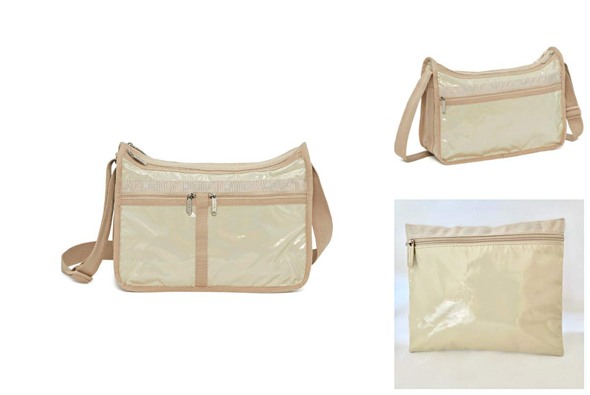 LeSportsac Latte Chroma Shimmer Patent Deluxe Everyday Crossbody Bag + Cosmetic Bag, Style 7507/Color K614 (Iridescent)