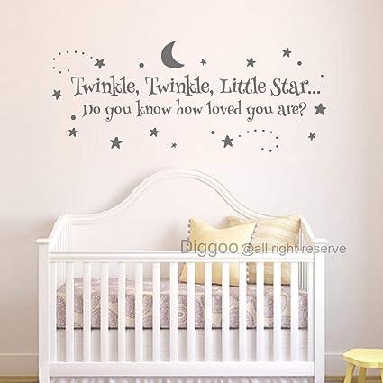 Amazon.com: Diggoo Baby Nursery Wall Decal Twinkle Twinkle ...