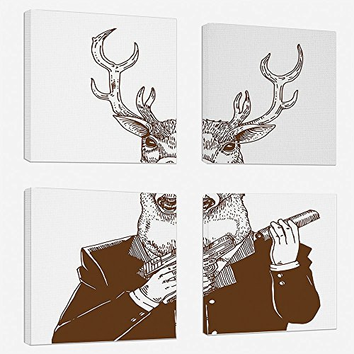 4 Pcs/set Modern Painting Canvas Prints Wall Art For Home Decoration Modern Print On Canvas Giclee Artwork For Wall DecorReindeer Man in Suit with A Gun Mafia Humor Wild Life Artistic Illustration-Red