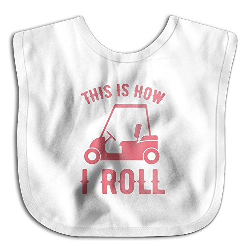 Funny Printed This Is How We Roll Golf Cart2-2 Baby Boy Girls Lap Shoulder Bibs -