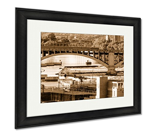 Ashley Framed Prints Minneapolis Mn River And Bridge Near Downtown, Modern Room Accent Piece, Sepia, 34x40 (frame size), Black Frame, - Minneapolis Downtown Mn