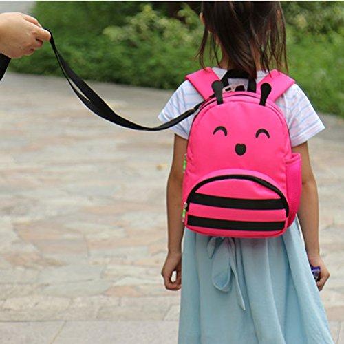 Tinksky Kinder Rucksack Karikatur Tier Kindergarten Tasche Anti Verlust für Jungen Mädchen (Rot)