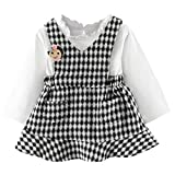 for 0-2 Years Baby Girls, Cute Infant Baby Girls Toddler Long Sleeve Blouse and Plaid Mini Dresses Tutu Dress Summer Autumn Clothing (0-6 Months, Black)