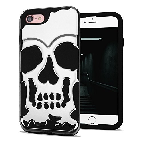 iPhone 7 Case, iPhone 8 Case, Skull Hybrid, Heavy Duty Polycarbonate and Silicone TPU Hard Cover - (Skull Hard Case)