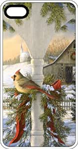 Female Cardinal In Winter Setting White Rubber Case for Apple iPhone 5c