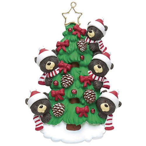 Big Brother Personalized Ornament (Personalized Christmas Ornaments 2017 Red Ribbon Tree Family of 5 Holiday Black Bear Ornaments Cute Parents Grandparents Brothers and Sisters Best Friends Siblings Kids Coworkers of Five)