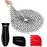 Cast Iron Scrubber, Cast Cleaner Iron Skillet Cleaner Stainless Steel Chainmail Cookware Scrubber with Silicone Hot Handle Holder 2 Pan Scrapers for Skillet Grill Pan Pot Wok Griddle 7 inches Round