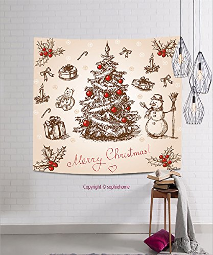 sophiehome Tapestries118104736 Hand drawn christmas card in vintage stile Raster version Vector is also available in my gallery hanging magical thinking tapestry 23.6W x 23.6L Inches (Pagan Version Of Christmas)
