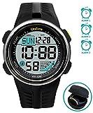Sports Digital watch Water Resistant 164FT 50M Swimming 60 Lap 3 Alarm Stopwatch Dual Time Black Resin Men's Womenl's Boy's Girls 442