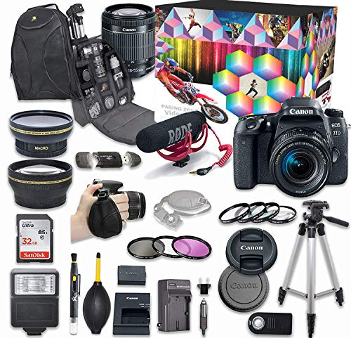 Canon EOS 77D DSLR Camera Deluxe Video Kit with Canon EF-S 18-55mm f/3.5-5.6 is STM Lens + Rode VIDEOMIC GO Microphone + SanDisk 32GB SD Memory Card + Accessory Bundle