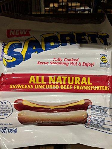 Uncured Hot Dog - Sabrett Skinless Uncured Beef Frankfurters 3 Lb (2 Pack)