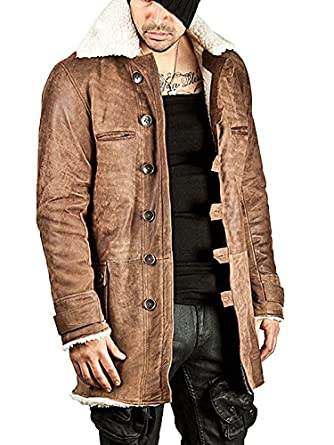 Distressed Bane Real Leather Faux Shearling Coat