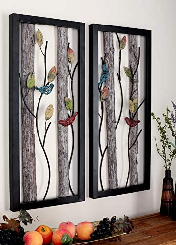 Deco 79 48635 Large Rectangular Red and Blue Birds on Branches Wood and Metal Wall D cor, Eclectic Wall Art, Bird D cor, Bird Sculptures Set of 2 16 x 36 Each