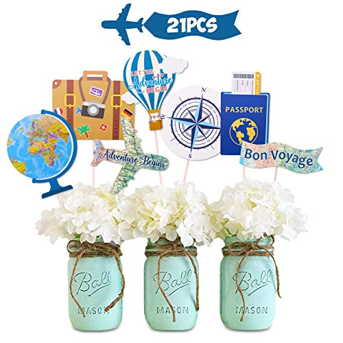 Up Themed Party (Let the Adventure Begin Centerpieces Travel Themed Centerpieces Sticks Adventure Awaits Bon Voyage Farewell World Map Retirement Graduation Party Photo Booth Props Set of)