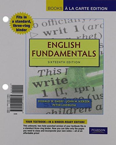 English Fundamentals, Books a la Carte Edition (16th Edition)