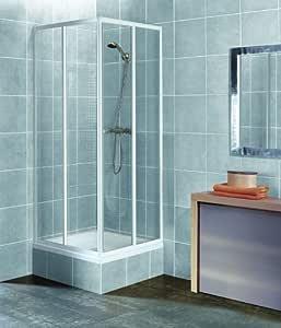 Cabina de ducha para esquina con vidrio de seguridad, perfil blanco 80x80 90x90 80x90 90x80: Amazon.es: Bricolaje y herramientas