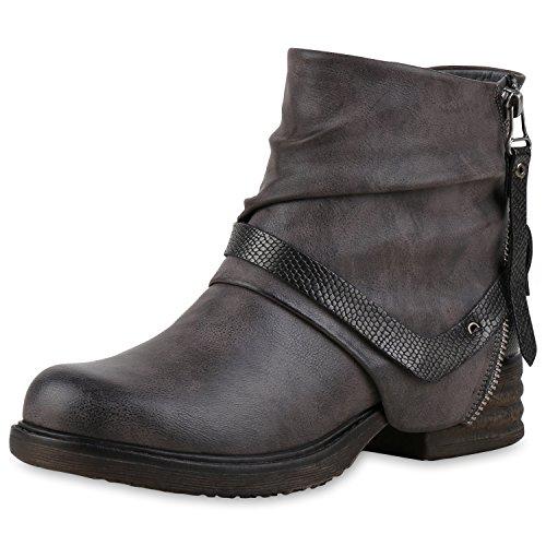 napoli-fashion - botas estilo motero Mujer gris
