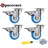"SPACECARE 4 Pack of 2"" Swivel Caster Blue Polyurethane Wheels Base with Brake Top Plate Double Ball"