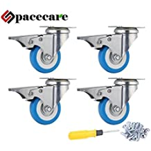 SPACECARE 4 Pack of 2 Swivel Caster Polyurethane Wheels Base with Brake Top Plate & Double Ball Bearing 300lb Each (4)