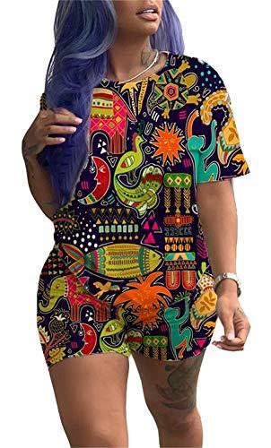 (Women Summer Animal Print Short 2 Piece Sportwear Crew Neck Loose T Shirt Short Joggers Hawaii Style)
