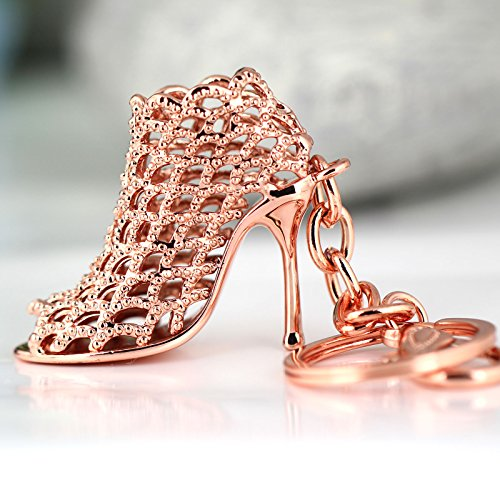 Love Tennis Key Ring (Maycom High-heeled Shoe Keychain Creative Fashion Refinement Lady Gift Hollow Shoes Keyring Key Chain Ring Keyfob 86113 (Rose Gold))
