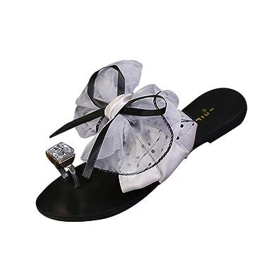 DEELIN Damen Schuhe Sommer Blumen Bogen Flache Ferse Zehe Sandelholz Pantoffel Strand Freizeitschuhe