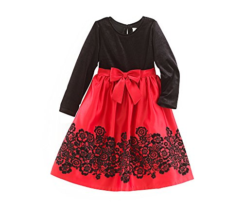 Rare Editions Girls 4-16 Long Sleeve Velvet Skirt Dress 16