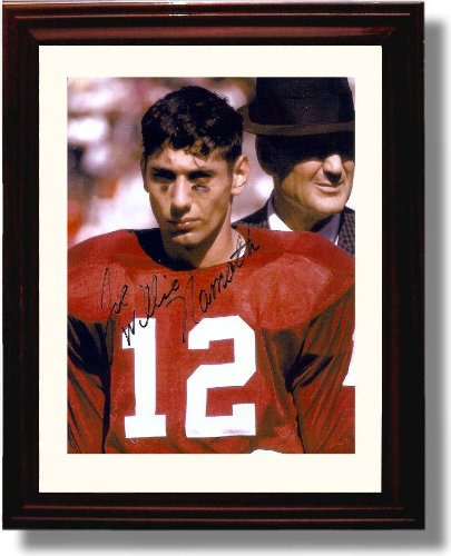 Framed Alabama Crimson Tide Football Joe Namath Bear Bryant Autograph Photo Print