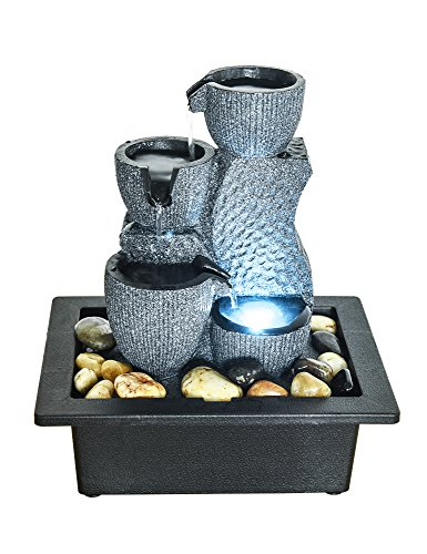Reflections Tabletop Fountain - PeterIvan Tabletop Water Fountain - Relaxation Fountain with Illuminated LED Lights for Office, Living Room, Vacation House Decoration, Portable Tabletop Fountain with Submersible Pump (grey, 11inch)