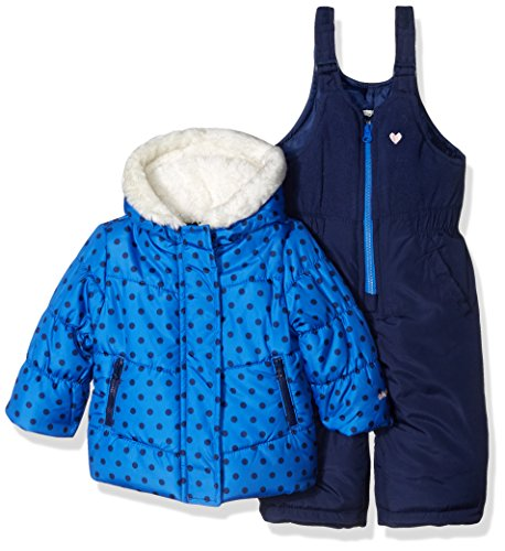 Osh Kosh Baby Girls Ski Jacket and Snowbib Snowsuit Outfit Set, Indigo Blue Dot, 12M