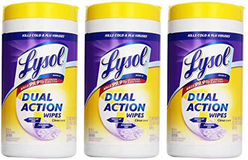 Lysol Dual Action Disinfecting Wipes Value Pack, Citrus, 225 Count (Action Disinfectant Dual)