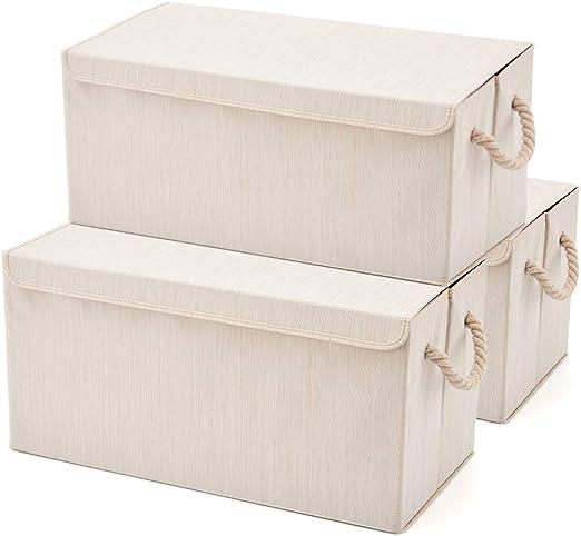 EZOWare Set de 3 Cajas de Almacenaje Grandes, Cajas de Tela ...