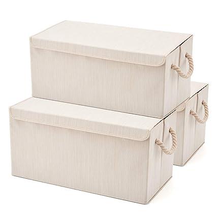 EZOWare Set de 3 Cajas de Almacenaje Grandes, Cajas de Tela Plegable con Manijas para