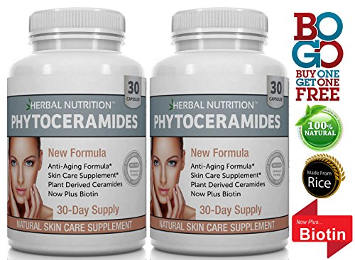 #1 Rated Phytoceramides from Rice with Biotin and Vitamins A, C, D, E, 2 Bottle Pack, Anti-Aging Skin, Hair, Nails Rejuvenation, All-Natural Ceramides, 40mg Gluten Free, a 60 Day Supply, Free Shipping (Phytoceramides Without Vitamins)