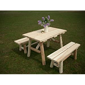 White Cedar Log Picnic Table with Detached Bench - 4 foot