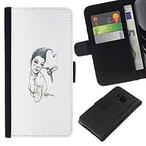 KLONGSHOP // Tirón de la caja Cartera de cuero con ranuras para tarjetas - Pink & Bird - HTC One M9 //
