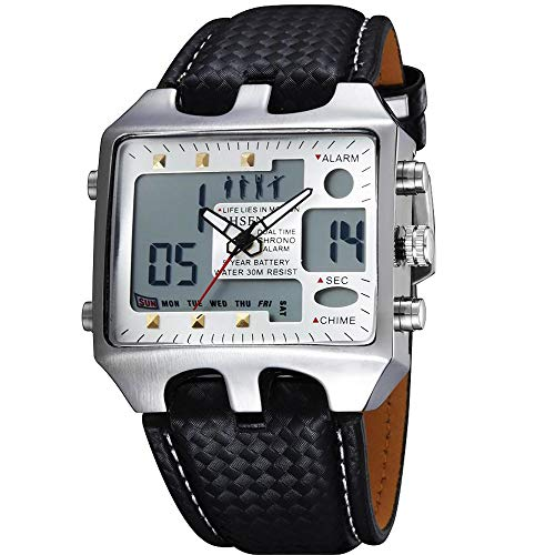 - OHSEN Dual Time Big Face Analog Digital ALM Chime Day Date LED Mens Quartz Watch