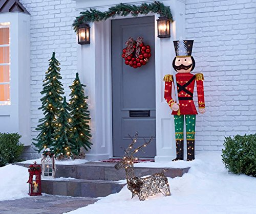 5 foot Nutcracker Toy Soldier Sculpture Outdoor Christmas Porch Yard Lawn Decoration Seasonal Display
