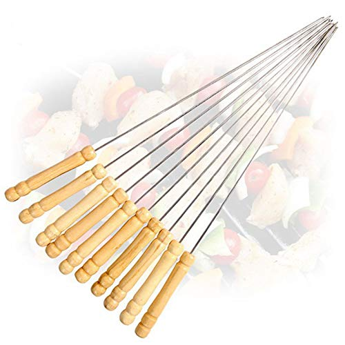 TD-OUTGO 10 Pcs BBQ Barbecue Roasting Needle Roasting Tools Brochette Tong Kebabe Skewers